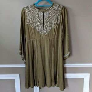 Embroidery Smock Dress